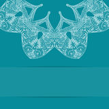 Turquoise blue card with ornate pattern Royalty Free Stock Images