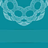 Turquoise blue card with ornate pattern Stock Images