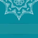 Turquoise blue card with ornate pattern Royalty Free Stock Photography