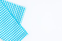 Turquoise, blue cloth, kitchen towel with checkered pattern, iso. Lated on white background isolated Royalty Free Stock Image