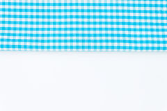 Turquoise, blue cloth, kitchen towel with checkered pattern, iso. Lated on white background isolated Stock Photos