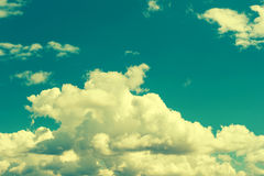 Turquoise blue cloudy sky background. vintage style Royalty Free Stock Images