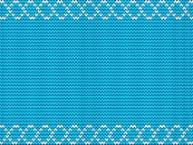 Turquoise blue fabric knitted background framed with knit white Stock Image