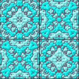 Turquoise blue floral ceramic tiles seamless pattern texture Royalty Free Stock Photography