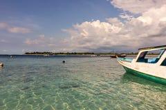 The turquoise blue of the Gili Trawangan Islands stock photography