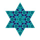 Turquoise blue and gold Jewish star. Clipart vector illustration