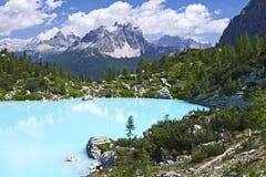 Turquoise Blue Mountain Lake stock image