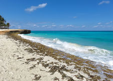 Turquoise blue ocean of Cuba. Amazing colors of the Atlantic Ocean washing the coast of Cuba, turquoise, azure, navy blue - with white foamy waves and yellow Stock Image