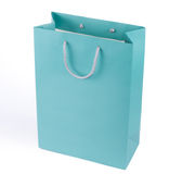 Turquoise blue shopping bag Stock Photography