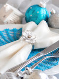 Turquoise blue and silver Christmas Table Setting Royalty Free Stock Photos