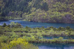 Turquoise and Blue Streams and Mountains Royalty Free Stock Photo