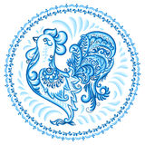 Turquoise blue vector rooster in Russian gzhel style in round frame Royalty Free Stock Photos