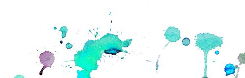 Turquoise blue watercolor splashes and blots on white background. Ink painting. Hand drawn illustration. Abstract watercolor. Royalty Free Stock Photos