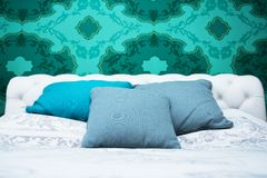 Turquoise blue and white bedroom Royalty Free Stock Images