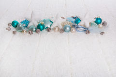 Turquoise and blue wooden snowy white christmas background with Royalty Free Stock Photography