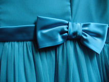 Turquoise Bow tied on Fabric - Horizontal Royalty Free Stock Image