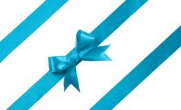 Turquoise bow on white background. design element Royalty Free Stock Photos