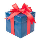Turquoise box with a gift and a red bow isolated on white backgr royalty free stock images