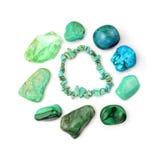 Turquoise Bracelet And Semi-precious Gemstones. Green And Turquoise Gemstones In Circle, Isolated On White Background Stock Photo
