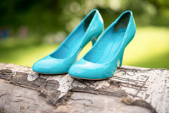 Turquoise bridesmaid shoes on the tree. Green lawn Stock Photo