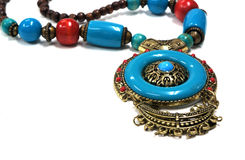 Turquoise, brown necklace Stock Photo