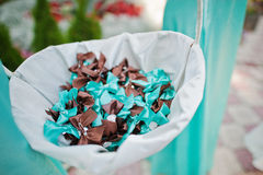 Turquoise and brown ribbons Stock Photos