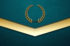 Turquoise brushed metal abstract background with grunge texture and golden laurel wreath sign Royalty Free Stock Photography