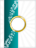 Turquoise bubbled brochure with golden ring Stock Images