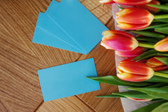 Turquoise business card for florist or designer, fashion industry. Still life, focus on the cards Royalty Free Stock Photography