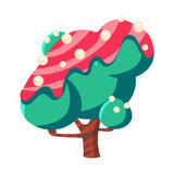 Turquoise cake tree covered with pink glaze. Colorful cartoon vector Illustration Royalty Free Stock Photo