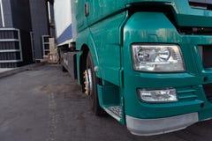 Cargo truck unloading. Closeup cabin. stock photography
