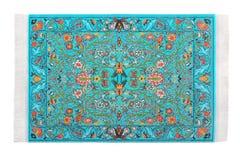 Turquoise carpet horizontally lies on white Stock Images