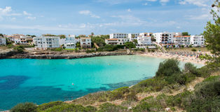 Turquoise cave in Mallorca. With cloudy sky Royalty Free Stock Photography