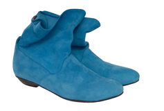 Turquoise chamois boots Royalty Free Stock Photography