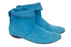 Turquoise chamois boots. The short turquoise chamois boots Royalty Free Stock Images