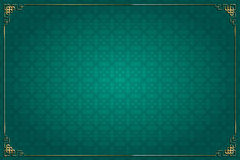 Turquoise chinese background and gold decoration Stock Photos