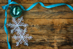 Turquoise Christmas ball with ribbon, bow Royalty Free Stock Photo