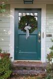 Turquoise Christmas Door Vertical Stock Photo