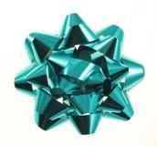Turquoise Christmas Gift Bow stock photo