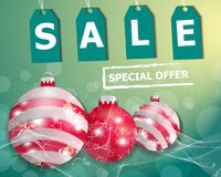 Turquoise Christmas sale poster or banner with three red Christmas balls. Vector. Illustration Royalty Free Stock Images