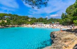 Cala Mondrago beach of Mallorca. Turquoise clean water in Cala Mondrago beach of Mallorca island - Spain Stock Image