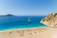 Turquoise Coast. With Tourists and Yachts in Antalya, Turkey Royalty Free Stock Image