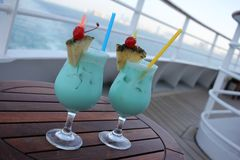 Turquoise cocktails - on shipboard. 12/01/16 - Turquoise cocktails, very delicious - on shipboard Stock Images
