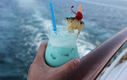 Turquoise cocktails - on shipboard. 12 01 16 - Turquoise cocktails, very delicious - on shipboard Royalty Free Stock Images