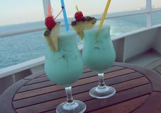 Turquoise cocktails - on shipboard. 12 01 16 - Turquoise cocktails, very delicious - on shipboard Royalty Free Stock Photography