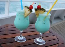Turquoise cocktails - on shipboard. 12 01 16 - Turquoise cocktails, very delicious - on shipboard Royalty Free Stock Photo