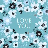 Turquoise color abstract floral pattern. For surface design. Motif with stylized flowers for card, invitation, header, poster. Geometric black and white texture Vector Illustration