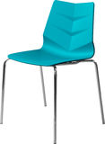 Turquoise color plastic chair with chrome legs, modern designer. Chair isolated on white background. Furniture and interior Royalty Free Stock Image