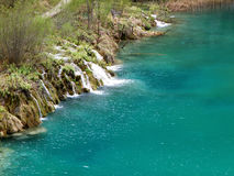 Turquoise color water of the Cascade in Plitvice Lakes National Park, Croatia Stock Image