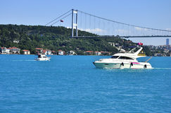 Turquoise colored Bosphorus. Royalty Free Stock Images